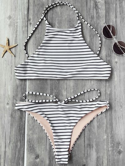 Striped High Neck Bikini Top And Bottoms - White And Black S