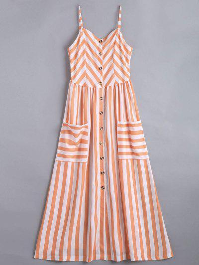 Button Up Striped Cami Dress - Stripe S