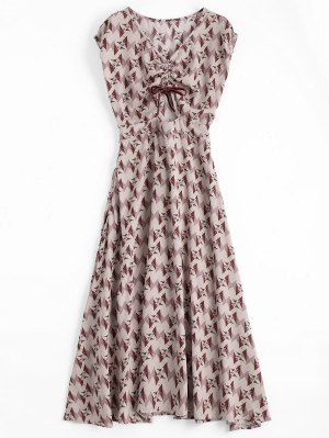 Floral Geometric Bowknot Midi Dress - Floral S