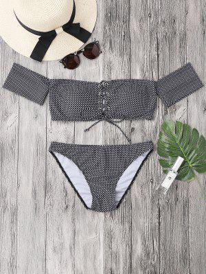 Dotted Lacing Off El Conjunto De Bikini Hombro - Blanco Y Negro L