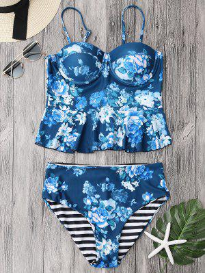 Cupped Tankini Top And High Rise Bottoms - Blue L