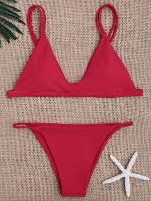 Low Waisted Spaghetti Straps Bikini Swimwear - Red M