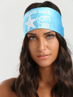 Cartas Starfish Patrón Elástico Hip-Pop Headband - Azur