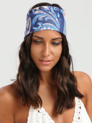 Ethnic Floral Pattern Wide Elastic Headband - Blue