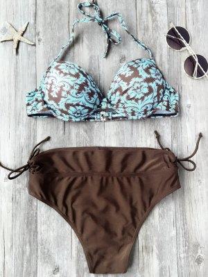 Traje De Bikini Con Aros Con Estampado De Barroco Con Brasier Moldeado - L
