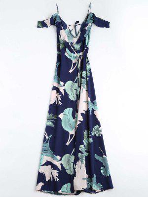 robe enveloppée cami imprimée en motif de feuilles