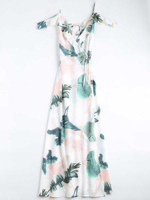 Leaves Print Cami Wrap Dress - White M