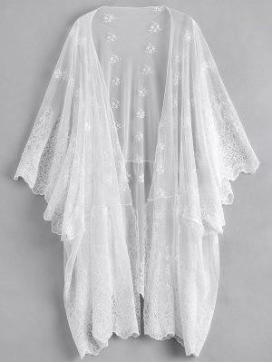 Open Front Embroidered Sheer Poncho Cover Up - White