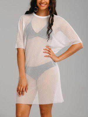Voir Thru Mesh Sheer Cover Up Dress - Blanc 2xl