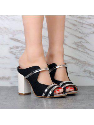 Canvas Block Heel Slippers