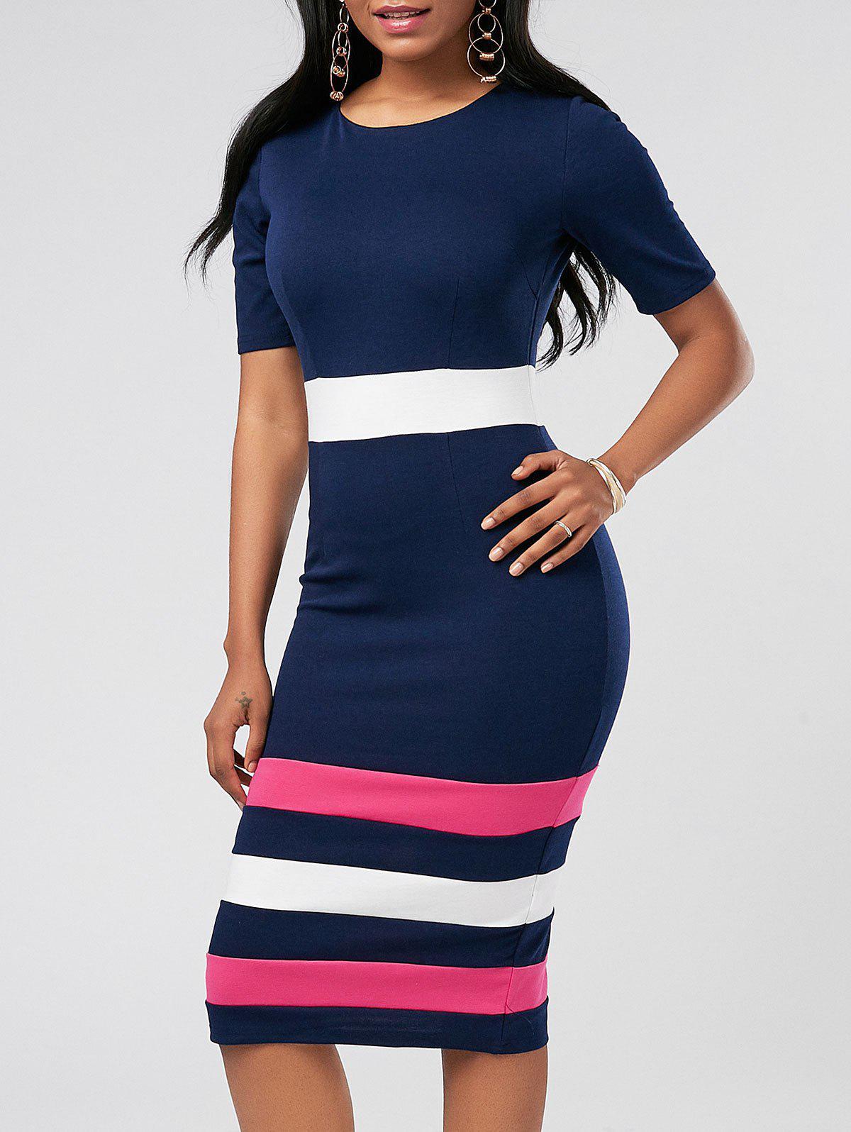 Color Block Midi Sheath Pencil Dress 215708203