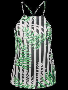 Buy Bow Tie Bamboo Leaves Backless Tank Top - MULTICOLOR S