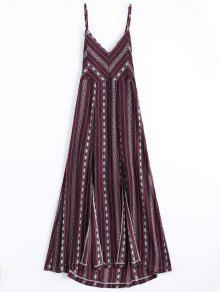 High Slit Criss Cross Beach Midi Dress - Wine Red S
