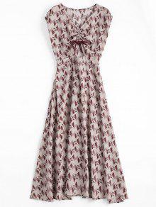 Floral Geometric Bowknot Midi Dress - Floral S