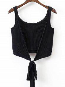 Ribbed Beach Cover Up Crop Wrap Top - Negro S