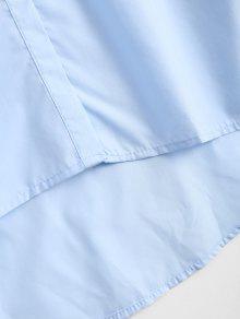 Vestido Claro Bajo Alto L Volantes Azul Bordado Con Camisero Con xxwfnR4