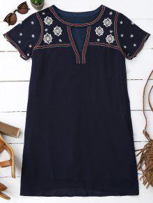 Floral Embroidered Mini Tunic Dress - Purplish Blue L