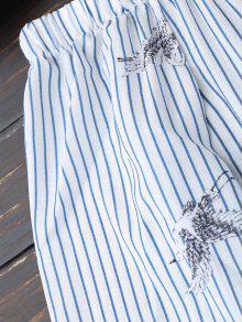 Hombro Blanco Flowy Superior La Bird Y Stripe Parte Del S Azul De 6q6ABRw0