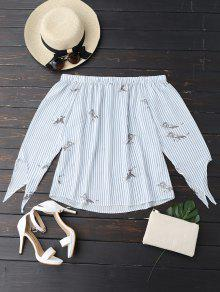 Flowy Stripe Bird Off The Shoulder Top - Blue And White M