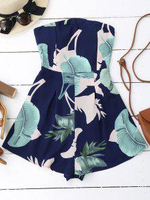 Padded Leaf Print Bandeau Romper - Purplish Blue L