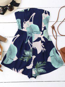 Padded Leaf Print Bandeau Romper - Purplish Blue M