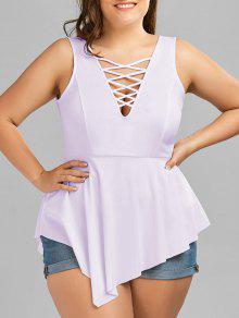 V Neck Crisscross Asymmetrical Plus Size Top - Light Purple Xl