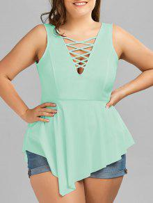V Neck Crisscross Asymmetrical Plus Size Top - Mint Xl