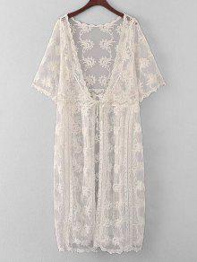Kimono De Encaje Bordado De Encaje Cubrir - Blancuzco