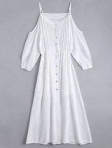 Vestido De Camisa De Cami De Hombro Frío Con La Parte Superior Del Tubo - Blanco S