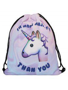 Unicorn Print Drawstring Backpack - Purple