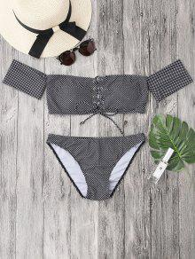 Dotted Lacing Off The Shoulder Bikini Set - White And Black M