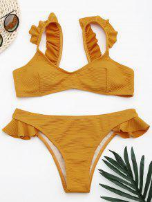 Ribbed Texture Ruffles Bikini Set - Ginger M