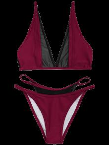 Mesh Panel High Cut Bikini Set - Wine Red L