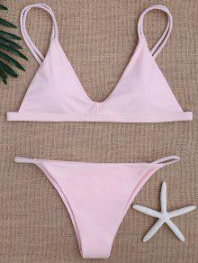 Low Waisted Spaghetti Straps Bikini Swimwear - Pink S