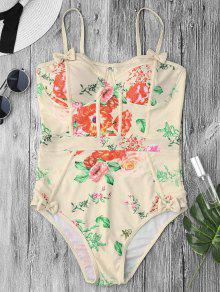Shaping Floral Print One Piece Swimsuit - Palomino S