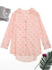 Chemisier Imprimé De Flamants à Coupe Haut Bas à Style De Pyjama - Rose PÂle M