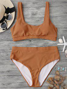 Midi Bralette Scoop Bikini Set - Brown Xl