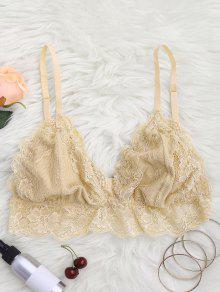 Longline Floral Lace Bralette Top - Yellowish Pink M