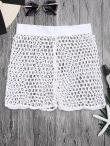 الكروشيه شبكة صيد السمك الشاطئ التستر السراويل - أبيض M
