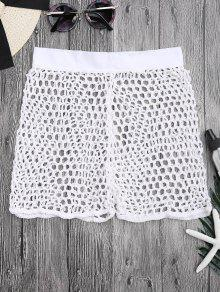 Crochet Fishnet Beach Cover Up Shorts - White S