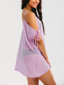 Cold Shoulder See Through Cover Up Dress - Light Purple L