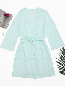Kimono Belted Pockets Night Robe - Light Green S