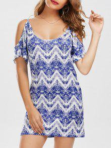 فستان متعرج باردة الكتف - أزرق S