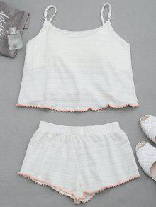 Loungewear Pom Padded Cami Top With Shorts - White M
