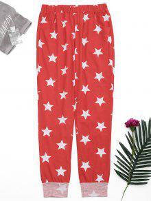 Loungewear Pentagram Star Print Pants - Red S