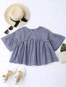 Drop Shoulder Checked Blouse - Checked L