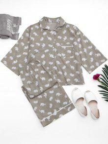 Loungewear Elephant Print Shirt With Pants - Gray S