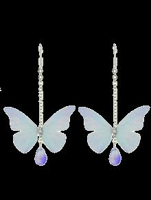 Acrylic Gem Butterfly Drop Earrings - Light Blue
