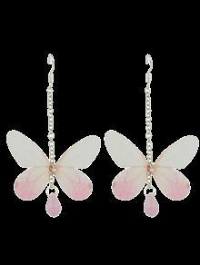Acrylic Gem Butterfly Drop Earrings - Off-white