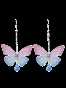 Acrylic Gem Butterfly Drop Earrings - Pink